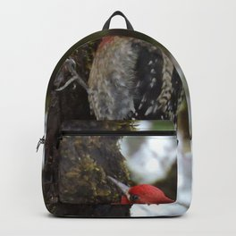 Red-Breasted Sapsucker in Christmas Snow Backpack