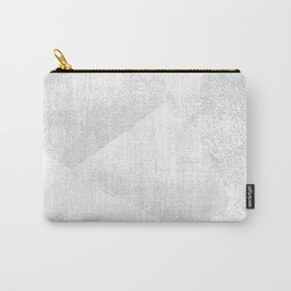 White and Gray Lino Print Texture Geometric Carry-All Pouch