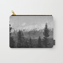 Snow Capped Sierras - Black and White Nature Photography Carry-All Pouch