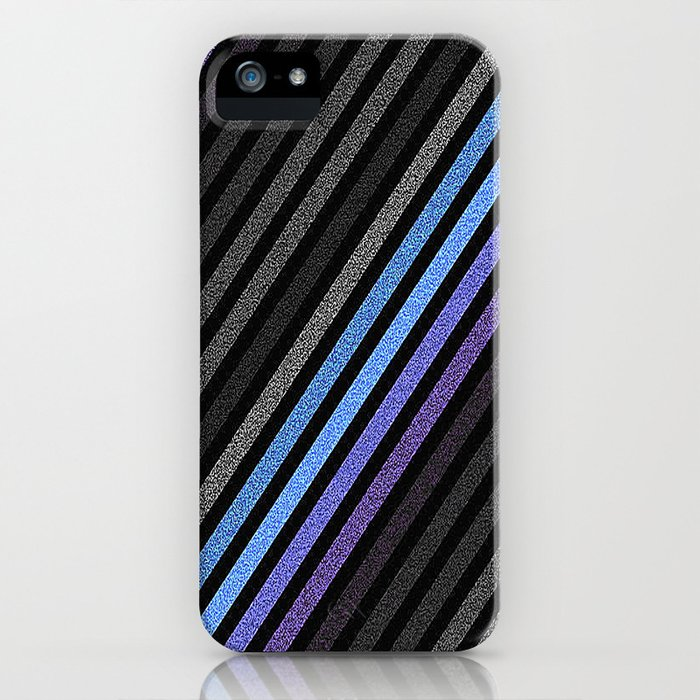 stripES Slate Gray Blue Periwinkle Pixels iPhone Case