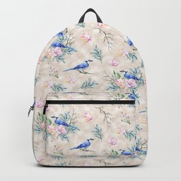 Chic Watercolour Blue Jay Spring Flowers Backpack