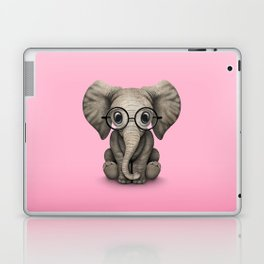 Cute Baby Elephant Calf with Reading Glasses on Pink Laptop & iPad Skin