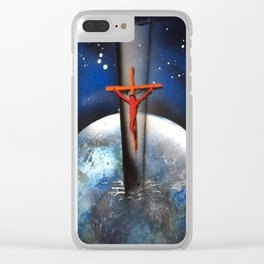 Saving the World Cross Spray Paint Clear iPhone Case