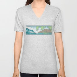 Ala Moana Diamond Head Hawaiian Surf Sign Unisex V-Neck