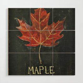 Fall Red Maple Leaf Black Background Wood Wall Art