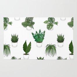 Houseplants Illustration (white background) Rug