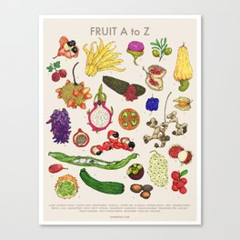 Bizarro Fruit - A to Z poster Canvas Print