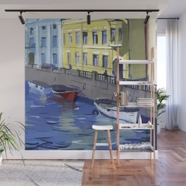 Cityscape of the embankment of the pavement with the river channel. Wall Mural