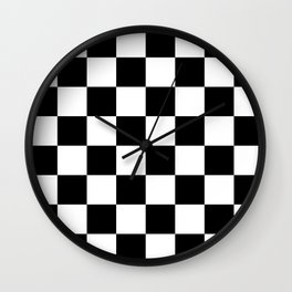 Black & White Checkered Pattern Wall Clock
