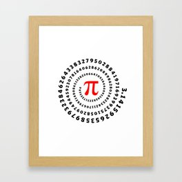 Pi, π, spiral science mathematics math irrational number Framed Art Print