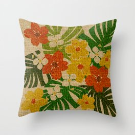 Limahuli Garden Hawaiian Floral Design Throw Pillow