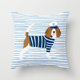 Beagle Sailor Nautical Design Dog fabric Throw Pillow