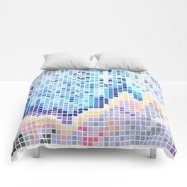 Pixelated Nebula Blue Comforters