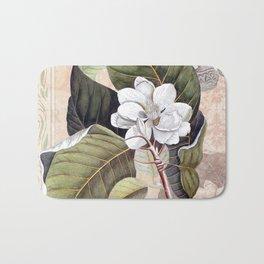 Vintage White Magnolia  Bath Mat