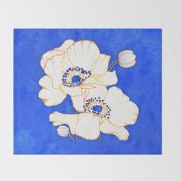 Ultramarine Blue :: Anemones Throw Blanket