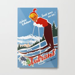 Vintage Autrans France Ski Travel Metal Print