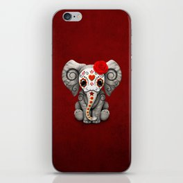 Deep Red Day of the Dead Sugar Skull Baby Elephant iPhone Skin