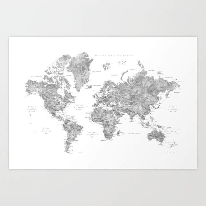 World map with labels in spanish, gray watercolor Art Print