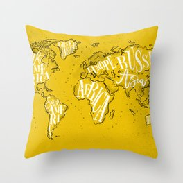 Worldmap vintage yellow Throw Pillow