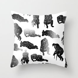 b&w fading figures Throw Pillow