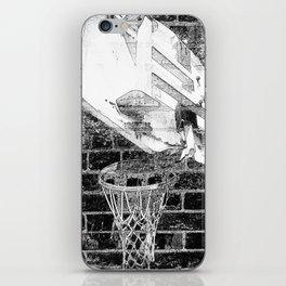 Black and white basketball artwork iPhone Skin