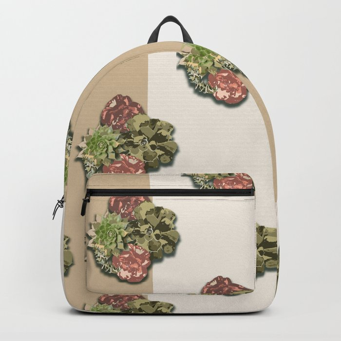 When Floral Meets Succulent (Beige & Cream) Backpack