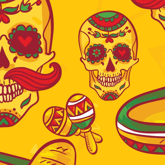 Mexican Sugar Skulls in Gold Leggings