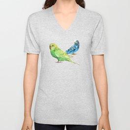 Geometric green and blue parakeets Unisex V-Neck
