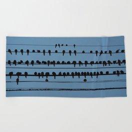 birds on a wire feeling blue Beach Towel
