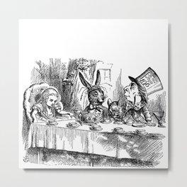Vintage Alice in Wonderland Mad Hatter & rabbit tea party antique goth emo book gothic drawing print Metal Print