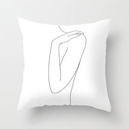 Woman's body line drawing illustration - Dalia Throw Pillow