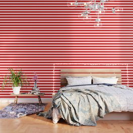 Australian Flag Red and White Wide Horizontal Cabana Tent Stripe Wallpaper