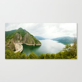 Vidraru Lake (Lacul Vidraru) and Dam in Carpathian Mountains, Fagaras ridge, Romania panorama. Canvas Print