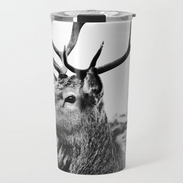 The Stag on the hill - b/w Travel Mug