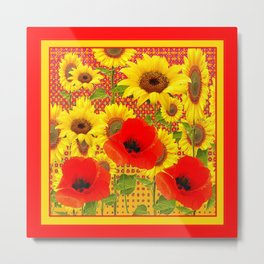 RED POPPIES YELLOW SUNFLOWERS RED PATTERN ART Metal Print