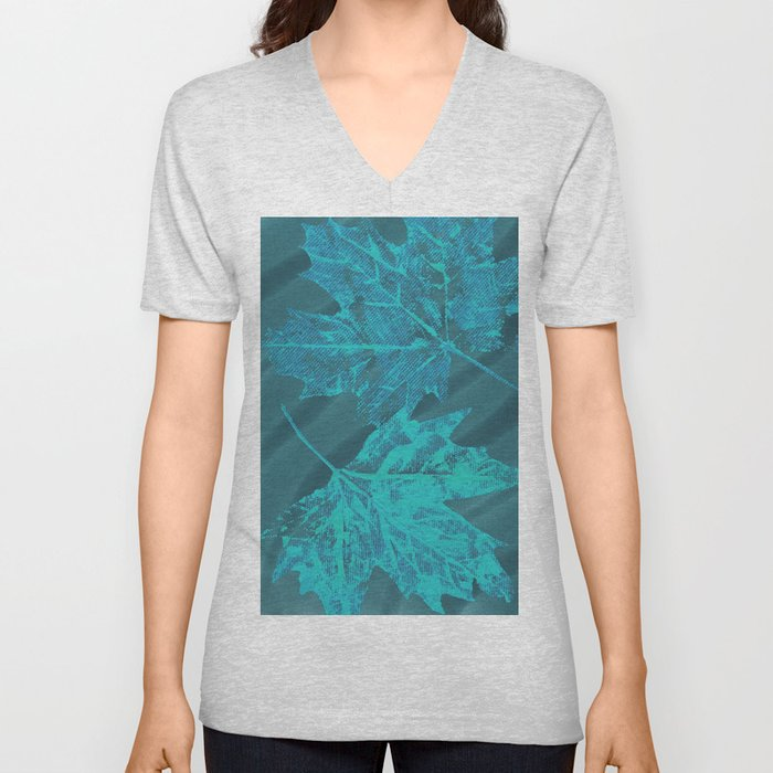 Eco botanical print in turquoise Unisex V-Neck