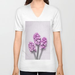 Pink Hyacinths Unisex V-Neck