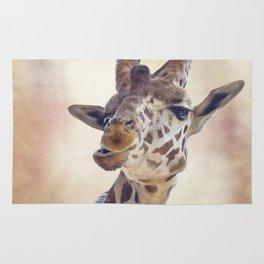 digital painting of giraffe portrait Rug