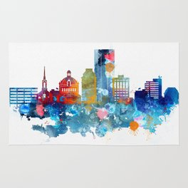 Colorful watercolor Lexington skyline Rug