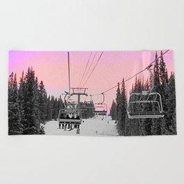 Ski Lift Sunset Shot on iPhone 4 Beach Towel
