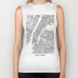 New York City Neutral Map Art Print Biker Tank