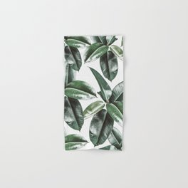 Tropical Leaves Pattern | Dark Green Leaves Photography Hand & Bath Towel