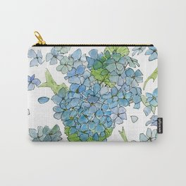 Blue Hydrangea Watercolor Carry-All Pouch