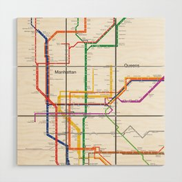New York City subway map Wood Wall Art