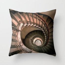 Spiral brown staircase Throw Pillow