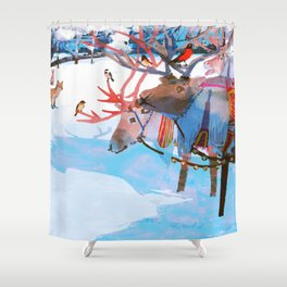 Reindeers and friends Shower Curtain