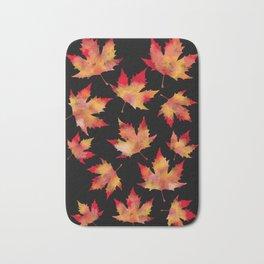 Maple leaves black Bath Mat