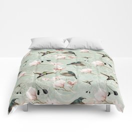 Vintage Watercolor hummingbird and Magnolia Flowers on mint Background Comforters