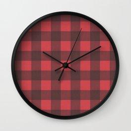 Black & Red Buffalo Check Pattern Wall Clock