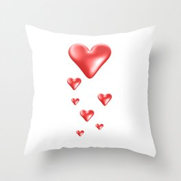 Red and White Gradient Hearts Throw Pillow